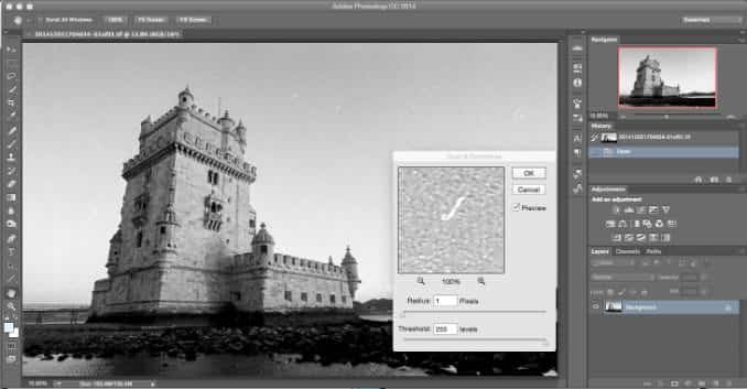 Removing Dust & Scratches with Photoshop Dust and Scratches Filter