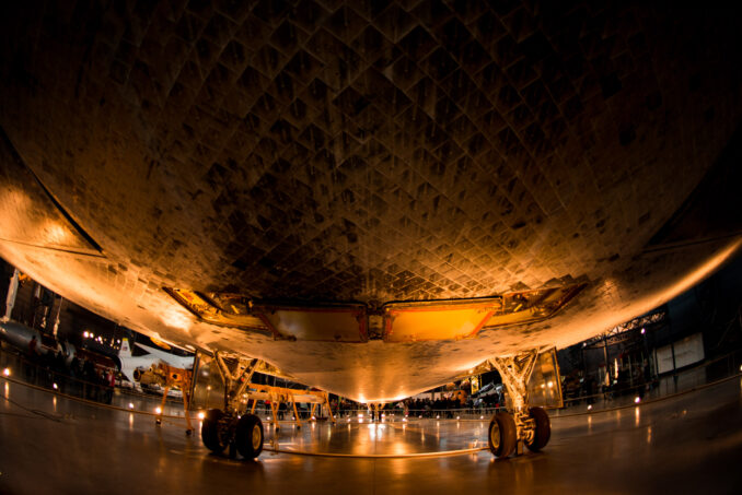 The distortion can be useful. This shot shows off the scarred heat shield on the belly of the Space Shuttle Discovery at the Smithsonian Air and Space Museum.