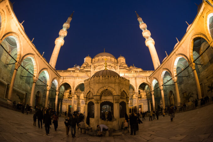 Photo of the Courtyard of New Mosque (Yeni Cami) Istanbul at Dusk  taken with a Nikon 16mm ƒ/2.8D fisheye lens