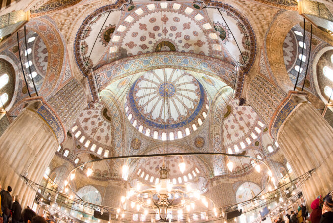 Interior of the Blue Mosque Prayer Hall in Istanbul