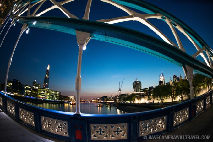 View of London Skyline at Dusk from Tower Bridge