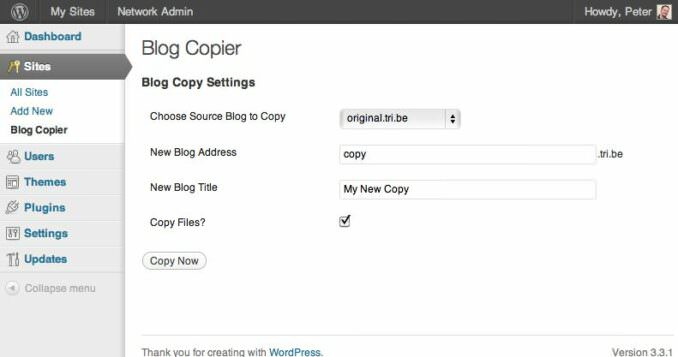 Blog Copier Plug-in for Wordpress