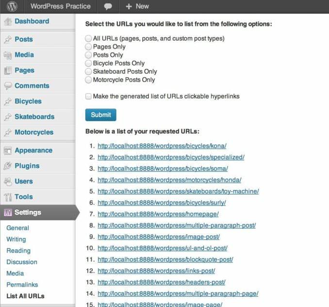 Wordpress Plugins for migrating sites: List All URLs plugin