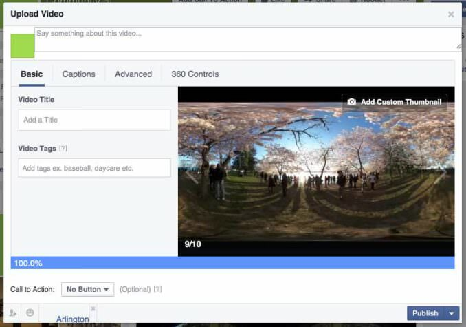 Facebook 360 degree video upload - 1