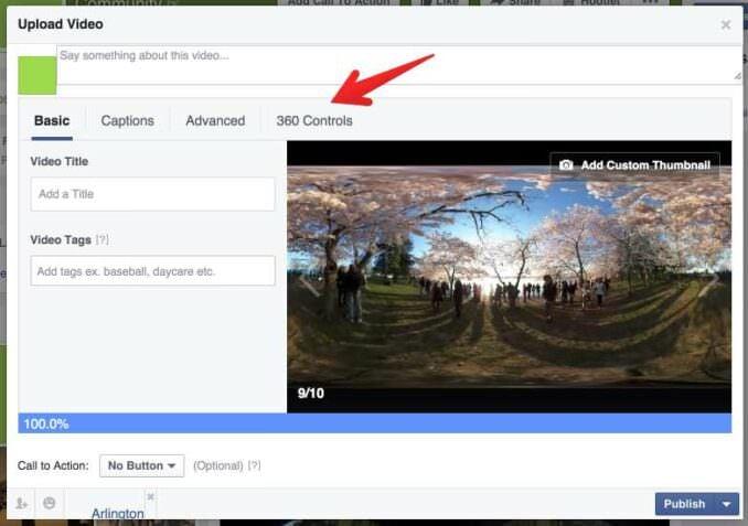 Facebook 360 degree video upload - 2