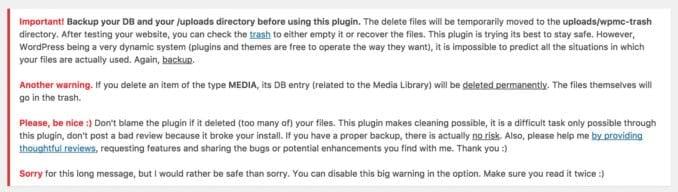 Media Cleaner for Wordpress warning panel