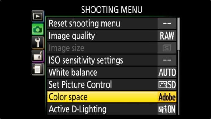 Nikon D3400 color space