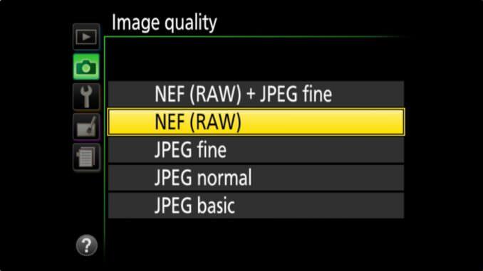 Nikon D3400 Picture Quality Setting: NEF (RAW)