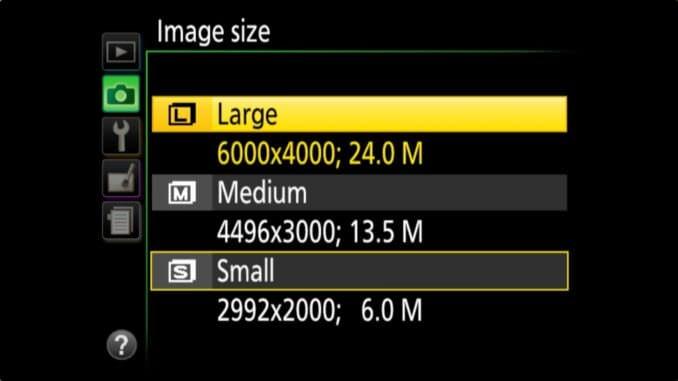 Nikon D3400 JPG Sizes