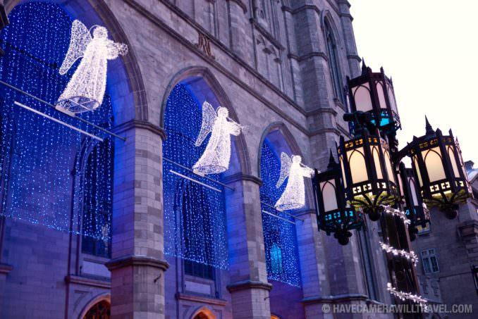Angel Christmas lights at Notre-Dame Basilica
