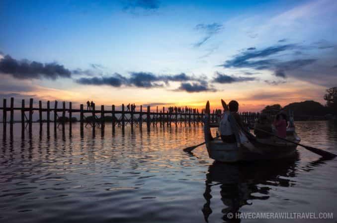 Boats at U Bein Bridge, Myanmar
