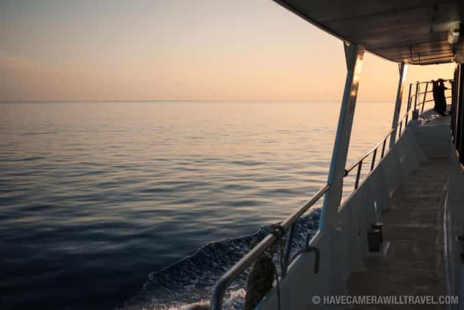 Calm seas at sunset on the Great Barrier Reef