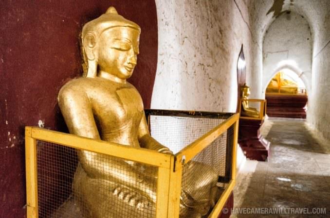 Gold Buddha Statue in Thatbyinnyu Temple in Bagan, Myanmar (Burma)