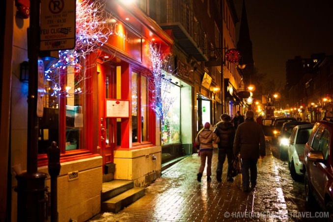 Quebec City Streets at Night