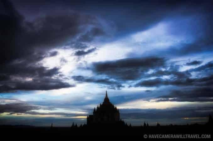 Silhouette of Thatbyinnyu Temple in Bagan, Myanmar