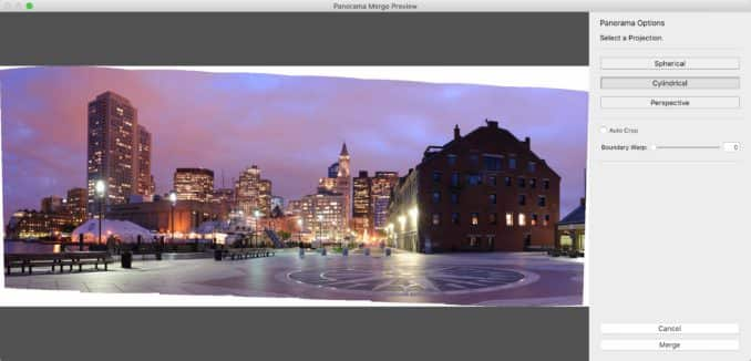 Lightroom Classic Photo Merge for panorama stitching