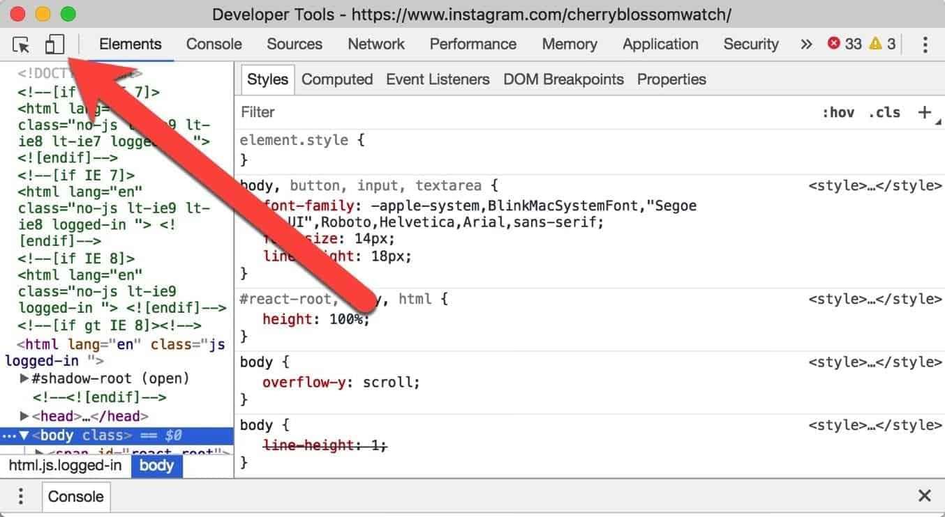 Instagram Chrome Developer Tools