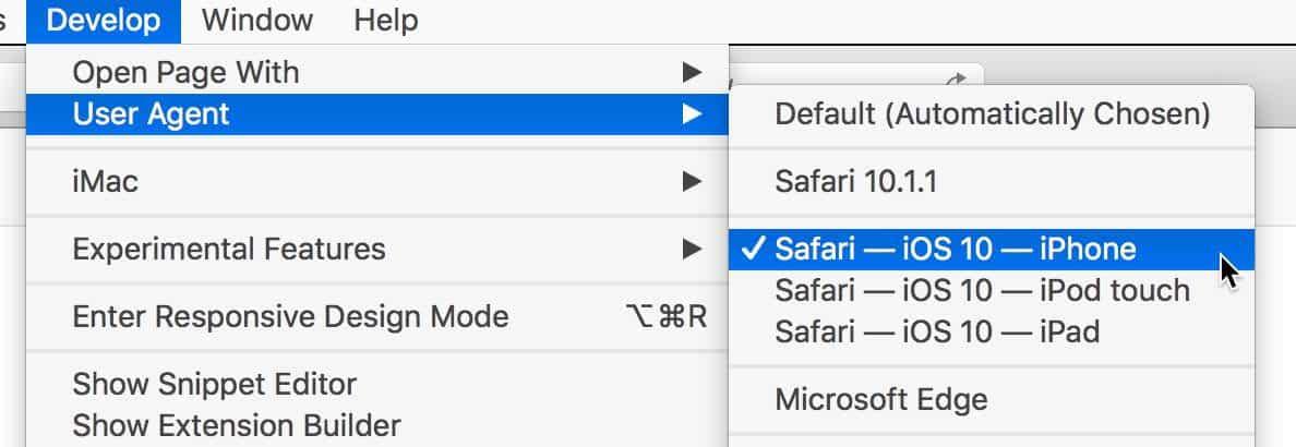 Switching User Agent in Safari