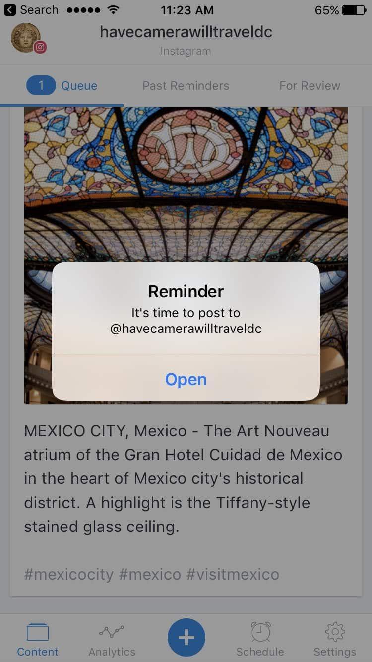 Buffer Instagram Reminder