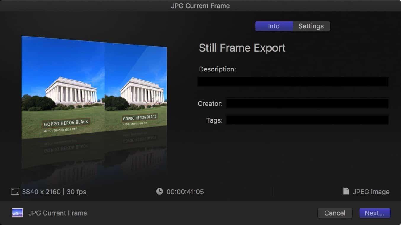 Final Cut Pro X Export Still Frame 3