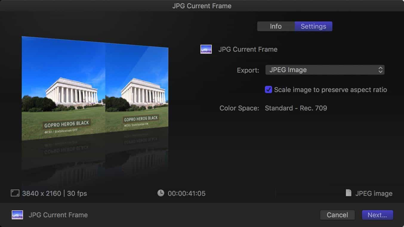 Final Cut Pro X Export Still Frame 4