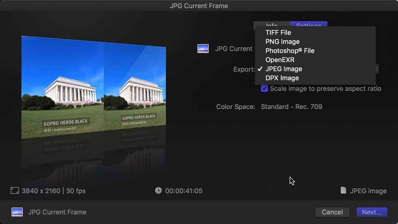 Final Cut Pro X Export Still Frame 5
