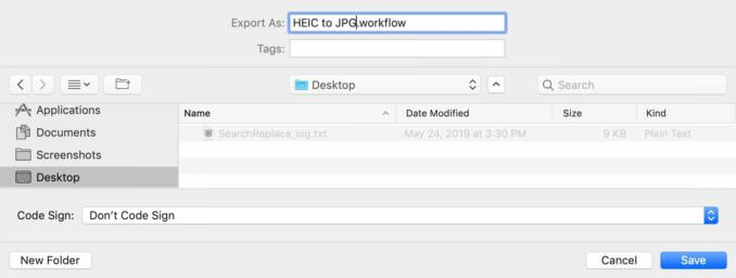 Automatic HEIC To JPG with macOS Automator Screenshot