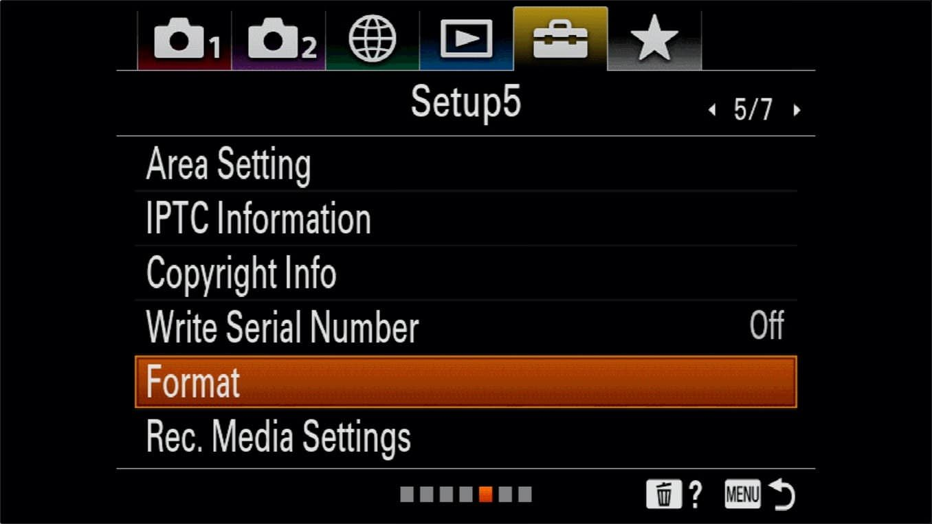 Sony a7R IV How to Format SD Cards 1
