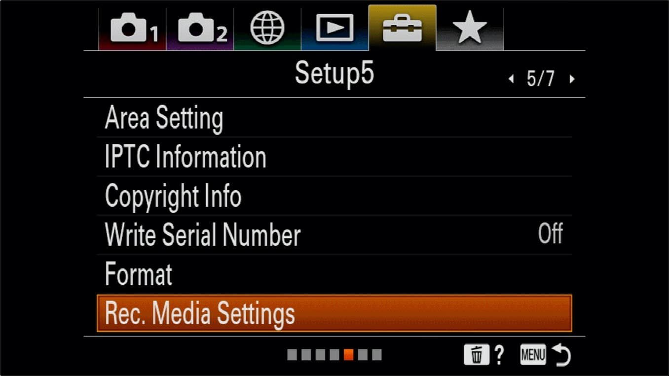 Sony a7R IV Memory Card Switching Rec. Media Settings Option