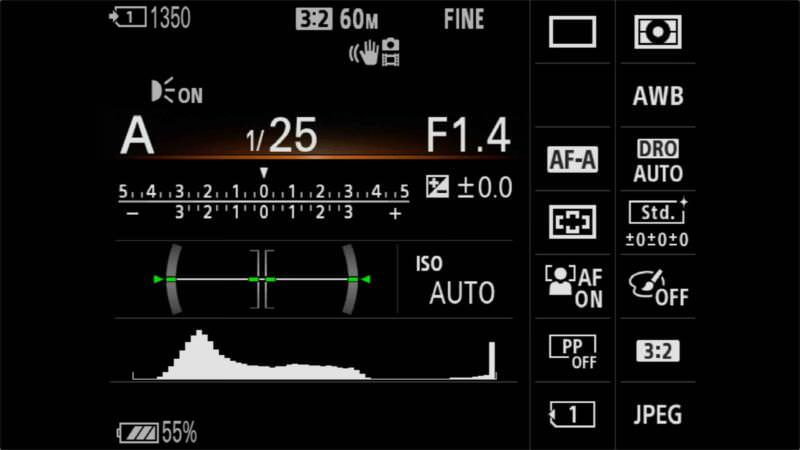 Sony A7R IV On Screen Information Display 1