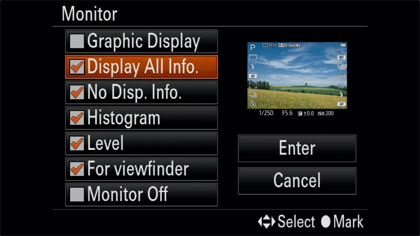 Sony a7R IV On Screen Information Display 2