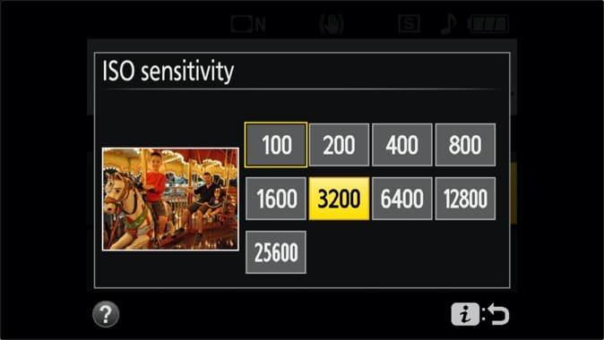 Nikon D3400 ISO Settings Quick Menu ISO Sensitivity