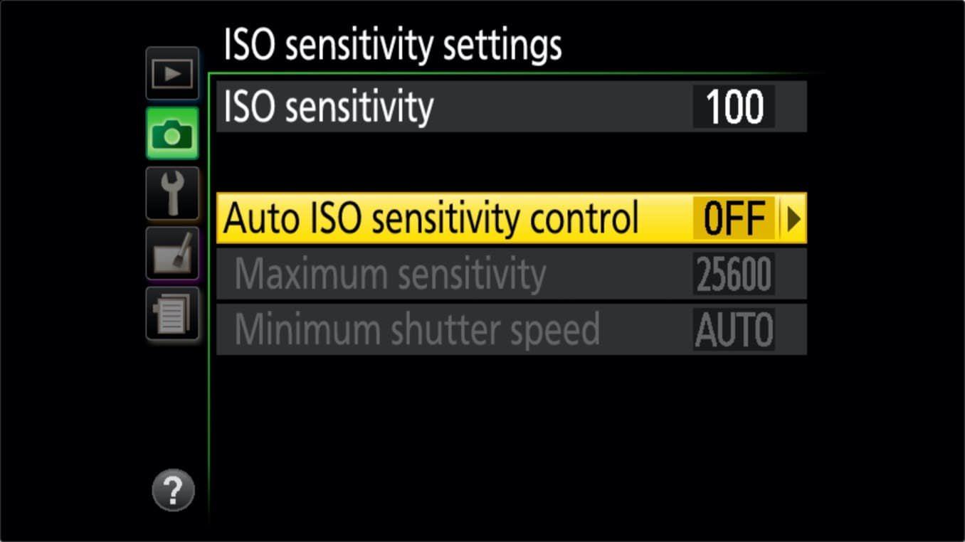 Nikon D3400 ISO Settings Turning Auto ISO Off