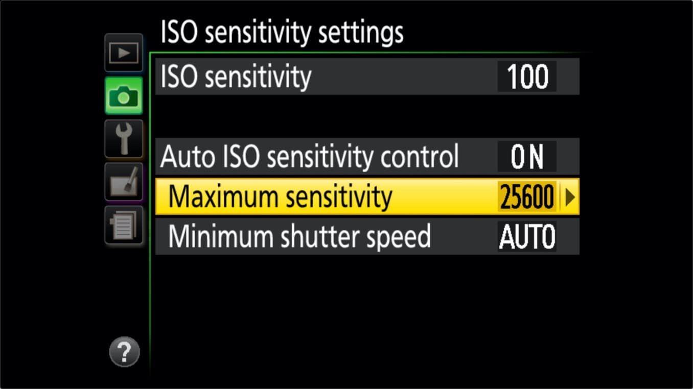 Nikon D3400 ISO Settings Maximum Sensitivity