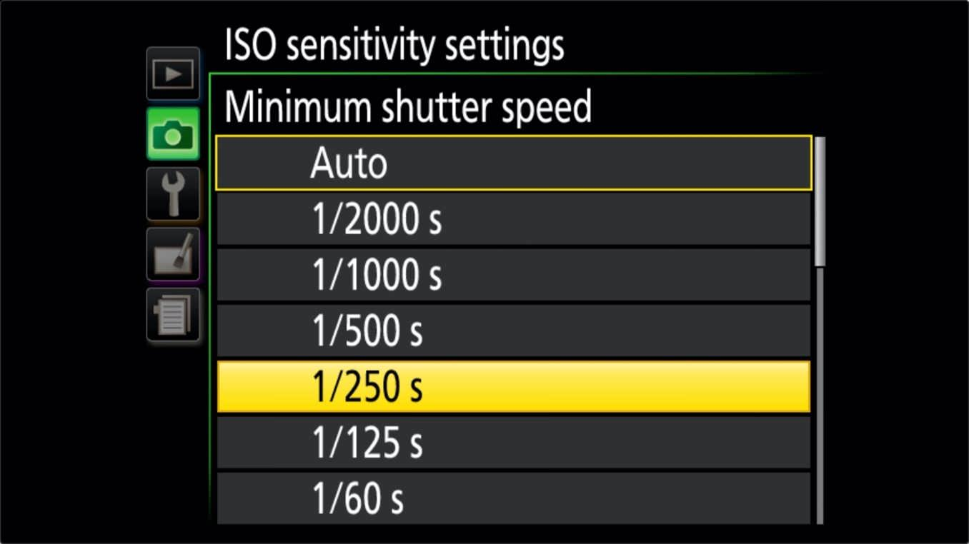 Nikon D3400 ISO Settings Minimum Shutter Speed