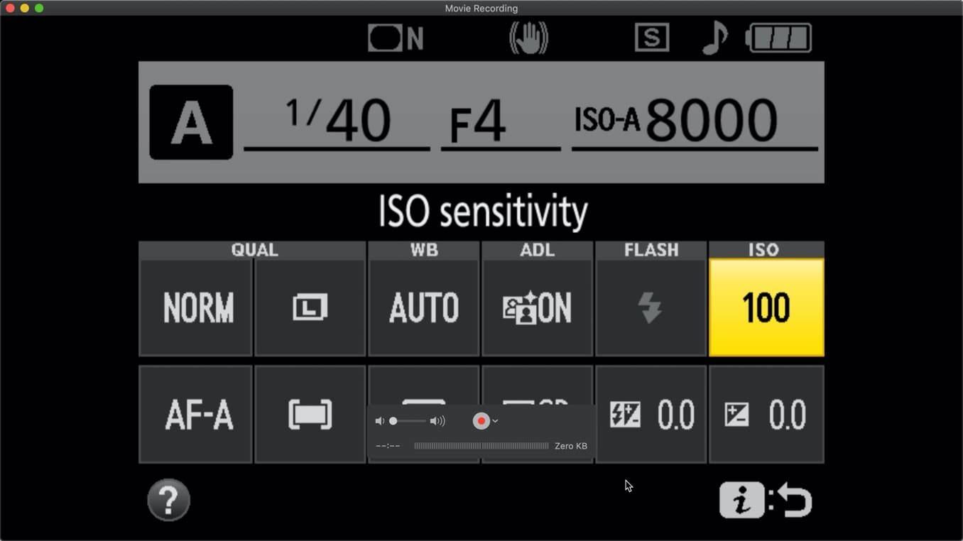 Nikon D3400 ISO Settings Quick Menu