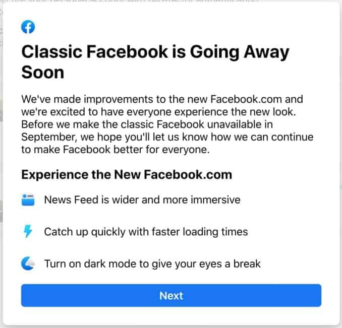 Classic Facebook is Going Away Soon message