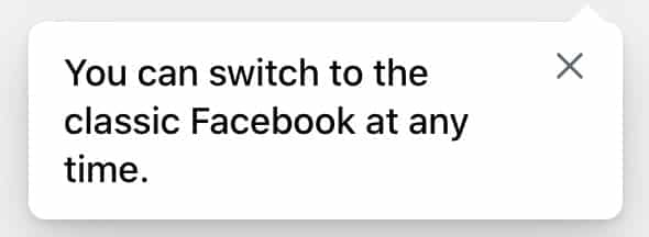 You can switch to the classic Facebook at any time message