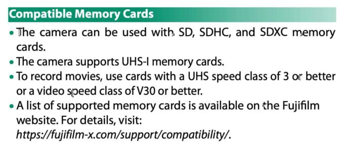 Fujifilm X100V SD Card Recommendations From Manual