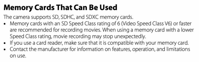 Nikon COOLPIX B600 Memory Cards That Can Be Used