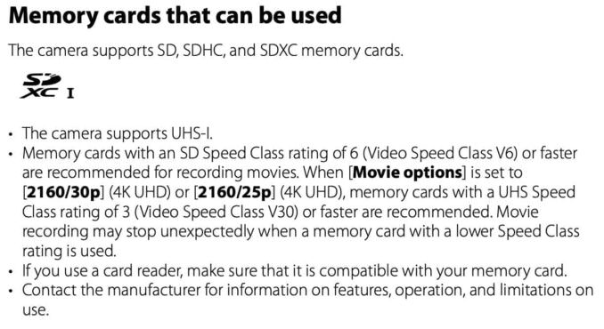 Nikon COOLPIX P950 Memory Cards That Can Be Used