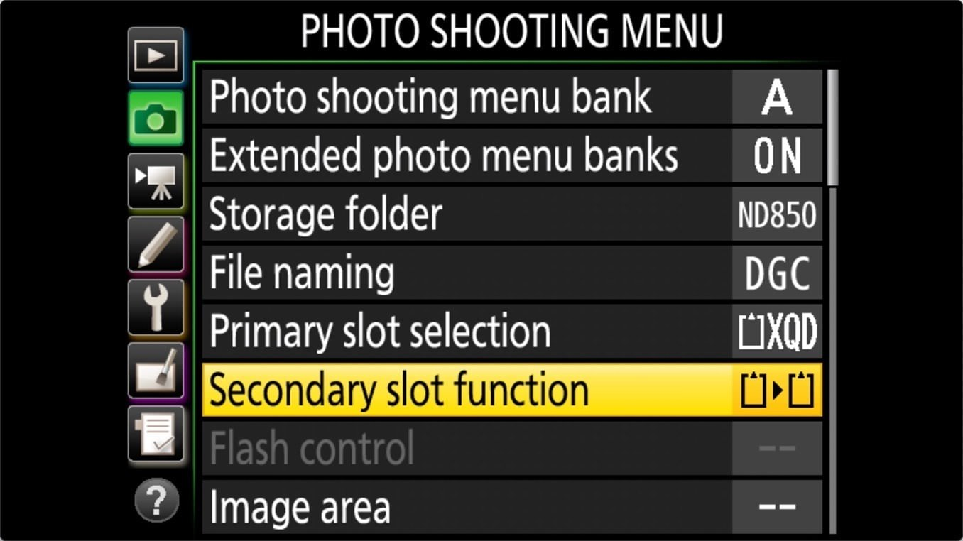 Nikon D850 Manage Memory Cards 3