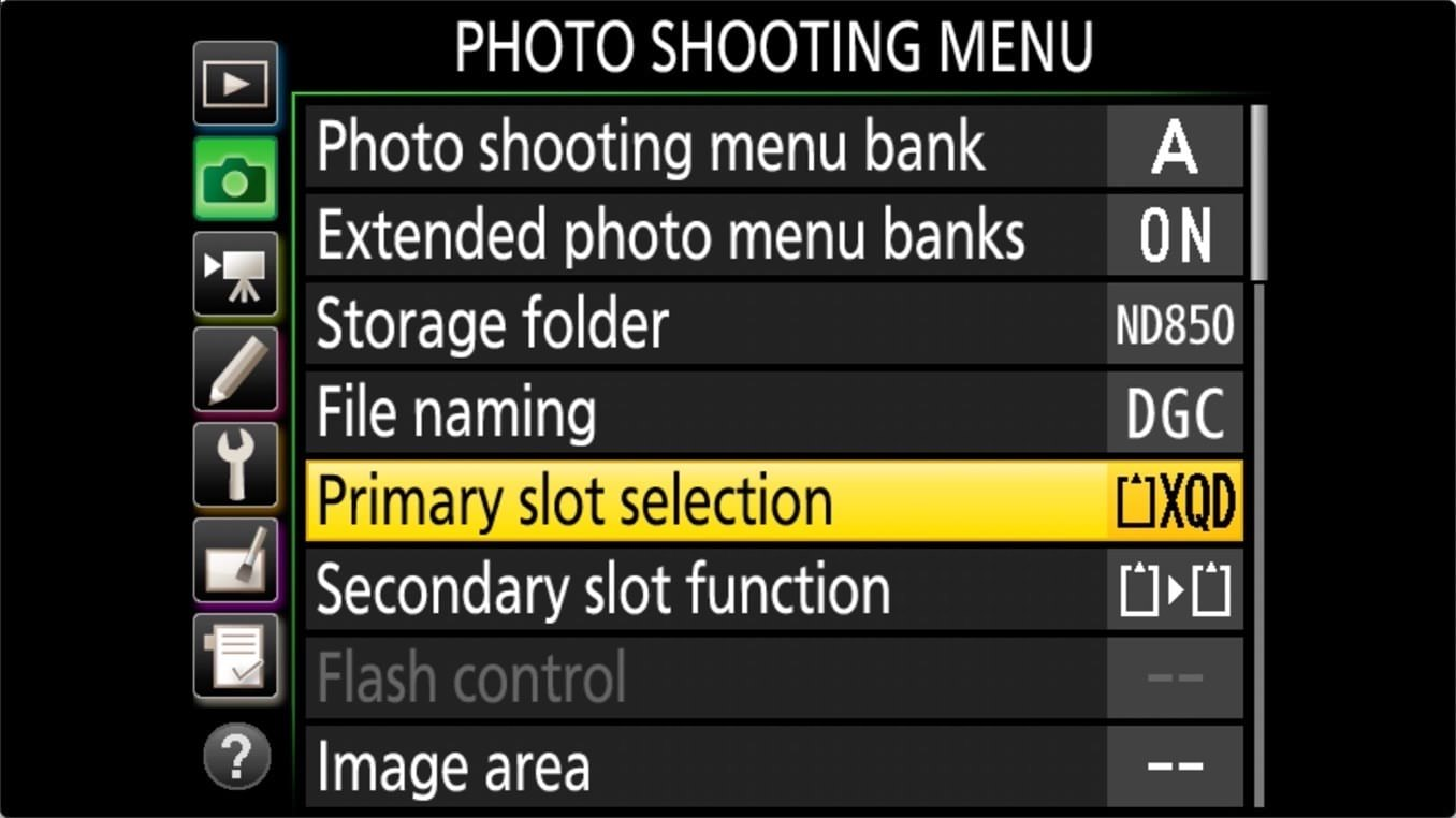 Nikon D850 Manage Memory Cards 5