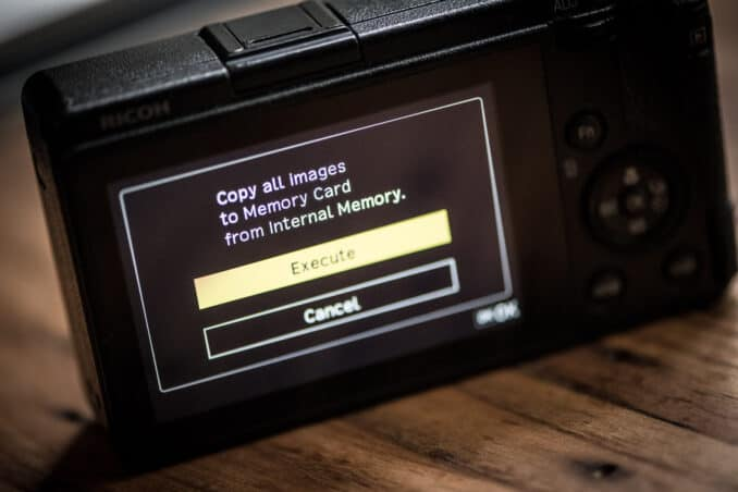 Ricoh GR III Copy and Format Internal Memory
