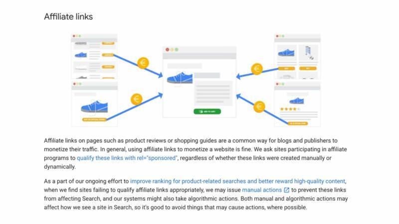 Google Guidance on Using REL Sponsored in Affiliate Links