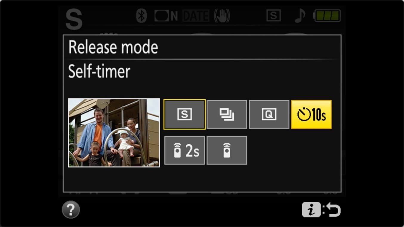 Nikon D3400 Self Timer Release Mode Screen Self Timer