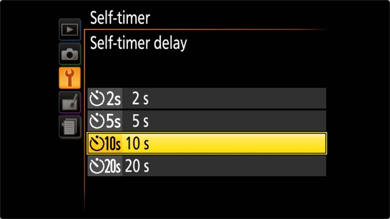 Nikon D3400 Self Timer Settings Delay