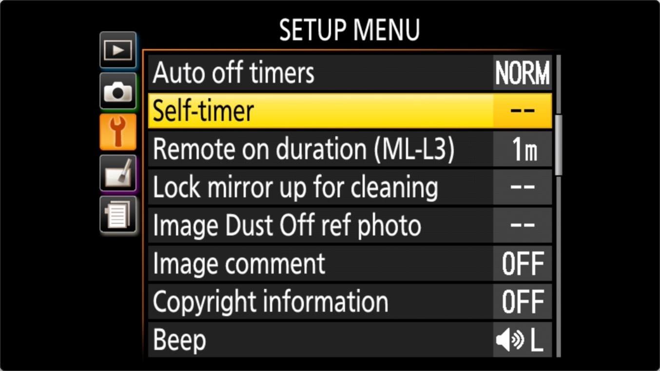 Nikon D3400 Self Timer Settings Menu