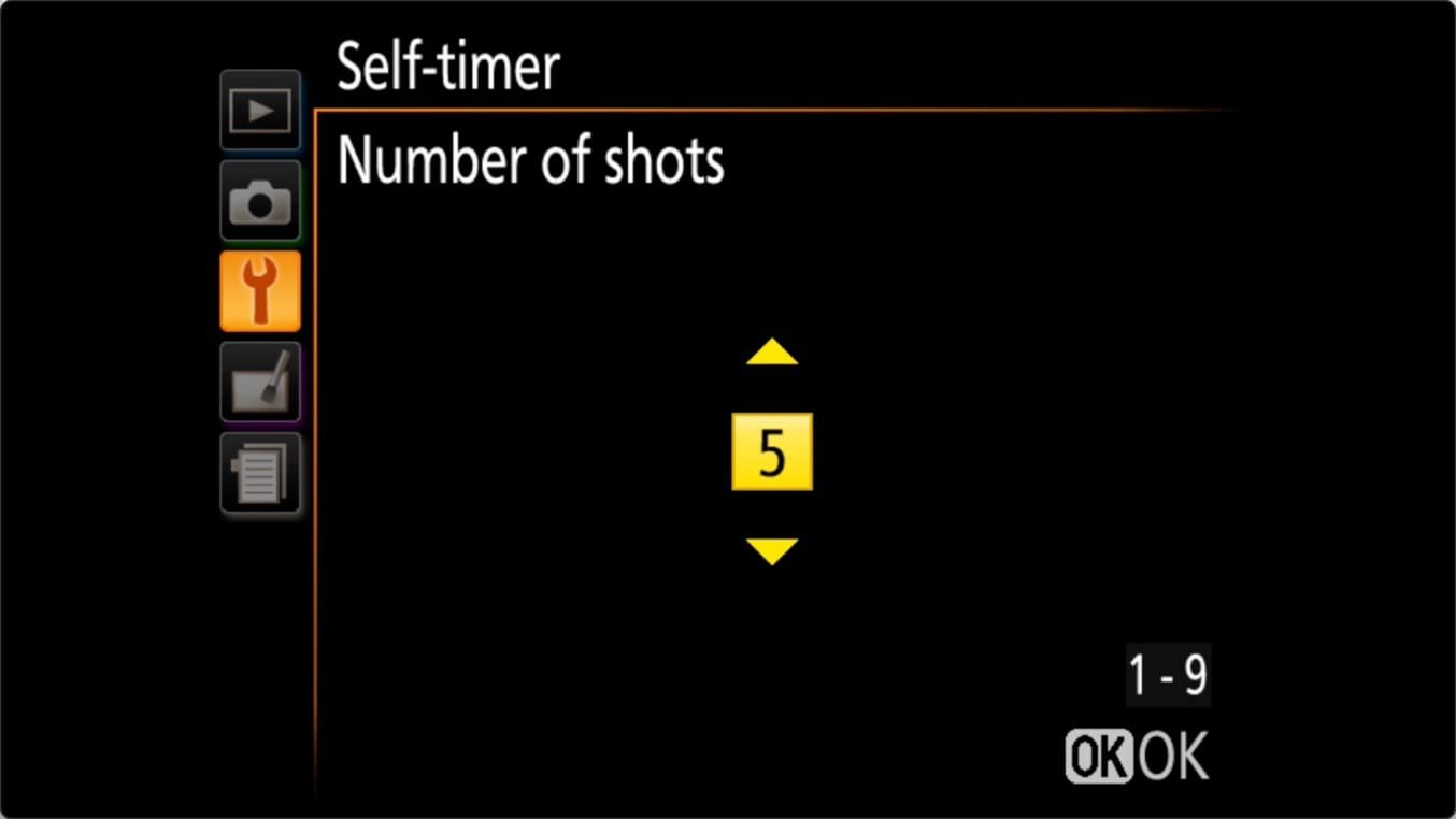 Nikon D3400 Self Timer Settings Sequence