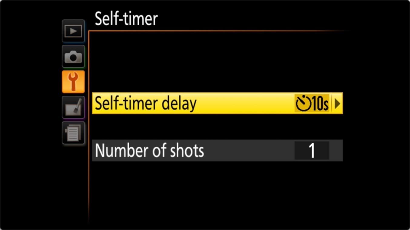 Nikon D3400 Self Timer Settings
